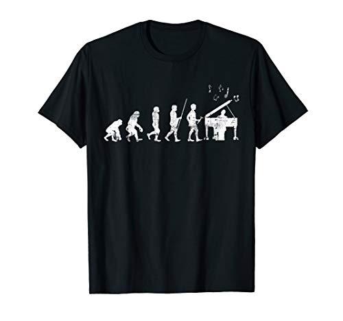 Klavier Evolution Pianist Jazz Musiker Piano T-Shirt