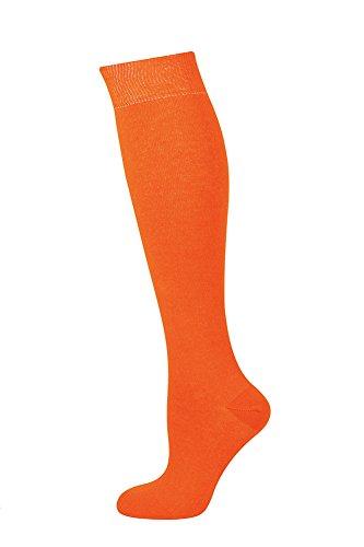 Mysocks® Unisex lange Kniestrümpfe aus besonders feiner, gekämmter Baumwolle, Orange, MKP010p