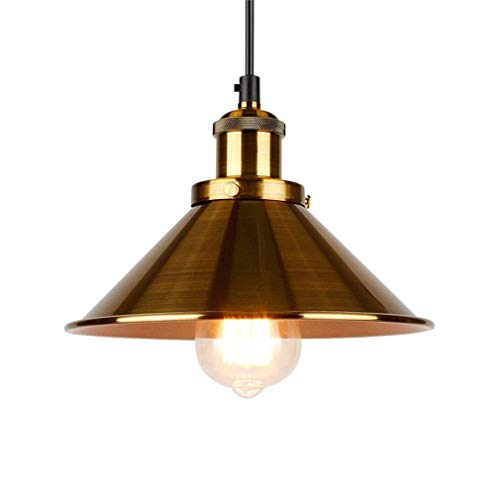 Jahrgang Industrielle Hängendes Licht, Retro Rustikal 1-Light Schmiedeeisen Hängende Deckenleuchte Beleuchtungskörper, Kücheninsel Esszimmer Pendelleuchte,Dia22cmgold