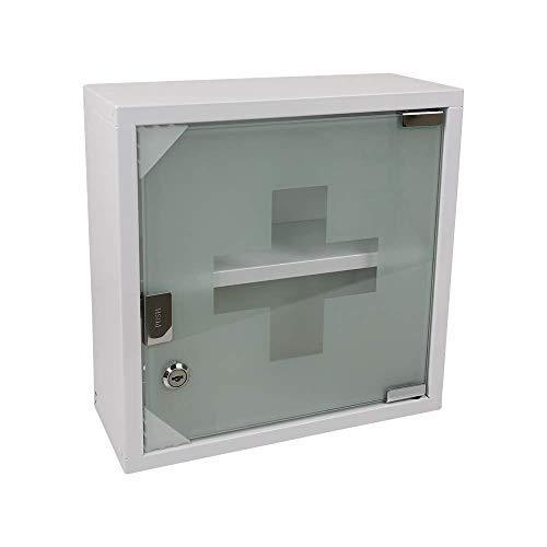 Theo&Cleo Medizinschrank mit Fachböden, Wand-Medizinbox aus Edelstahl 30 x 30 x 12 cm (Weiß - 2 Schichten)