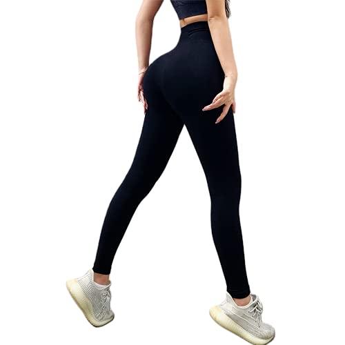 QTJY Las señoras estiran Las Polainas Ajustadas ejercitan la Celulitis Pantalones para Correr sin Costuras Pantalones de Yoga de Cintura Alta Que levantan la Cadera A M