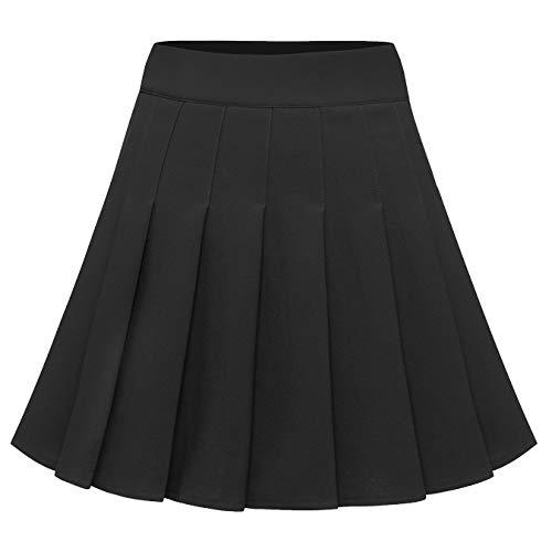 BeryLove Damen Mini Faltenrock Kurz Hohe Taille Röcke Skater Tennis Mini Rock Schulmädchen-Stil Schwarz BLP9002 Black S