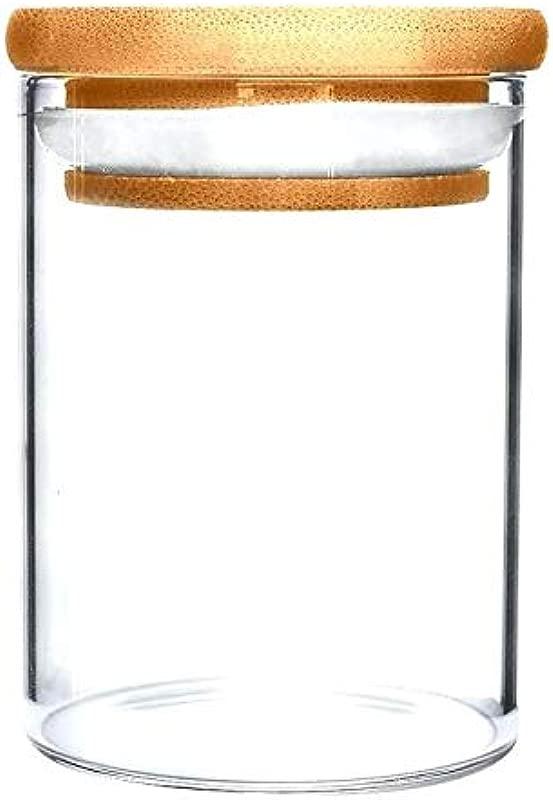 10 Oz Borosilicate Glass Jar W Wooden Top Suction Seal Lid 1