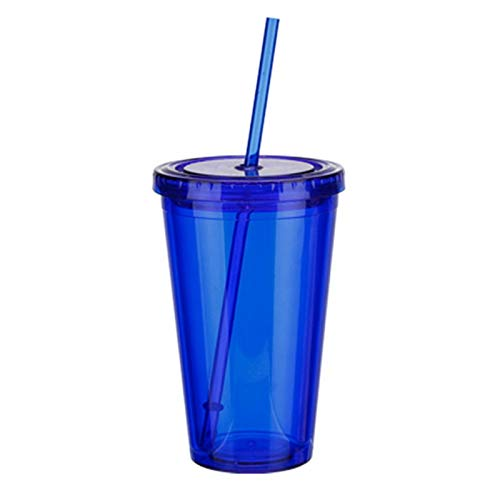 WDFDZSW 500ml Travel Mug With Straw Reusable Smoothie Plastic Iced Tumbler Double-walled Ice Cold Drink Coffee Juice Tea Cup (Color : Blue)