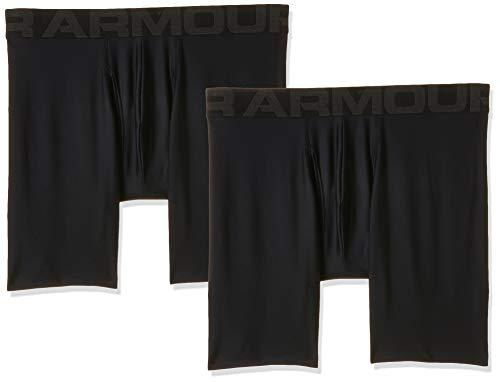 Under Armour Men's Tech 6-inch Boxerjock 2-Pack , Black (001)/Black , Medium