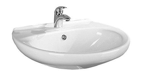'aquaSu® Waschtisch Aveiro | 55 cm | Weiß | Waschbecken | Waschplatz | Bad | Badezimmer | Gäste-WC | Keramik | Design | Mit Überlaufschutz