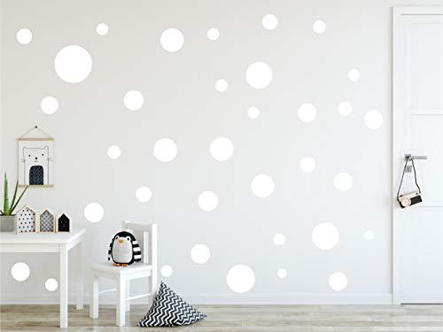 Timalo® XL Aufkleber Punkte Wandtattoo Kinderzimmer bunte große Kreise Pastell Uni Matt Wandsticker | 73081-weiss-40