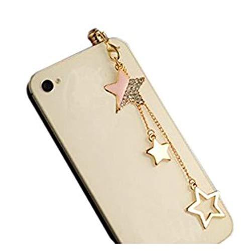 JUNGEN 3D Fünfzackigen Stern Glitter Anti-Dust Plug Strass Handyanhänger Staubschutz Stöpsel 3,5 mm Anti Staub Stecker Kappe für Smartphone Tablet (Rosa)