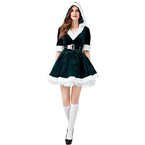 HBHBYNYN Traje de Santa Claus Traje for Mujer Santa Traje Navidad Disfraz de Disfraces de Lujo con cinturón de Vestir y Sombrero (Color : Green, Size : M)