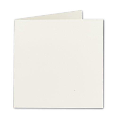 Quadratische Falt-Karten 15 x 15 cm - Naturweiss - 50 Stück - formstabil - für Drucker geeignet - für Grußkarten, Einladungen & mehr