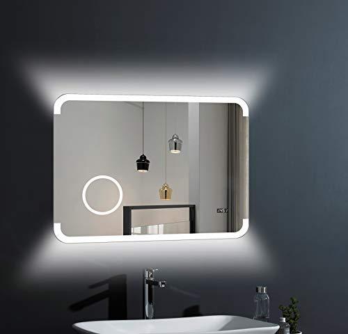 LED Badspiegel Talos Harmony - 80 x 60 cm - hinterleuchtetem Raumlicht - beleuchteter Kosmetikspiegel mit 3-Fach Vergrößerung - Digitaluhr - hochwertiger Aluminiumrahmen