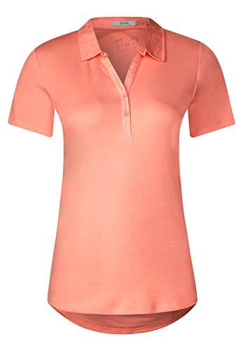 Cecil Damen Polo-Shirt in Unifarbe neon apricot XL