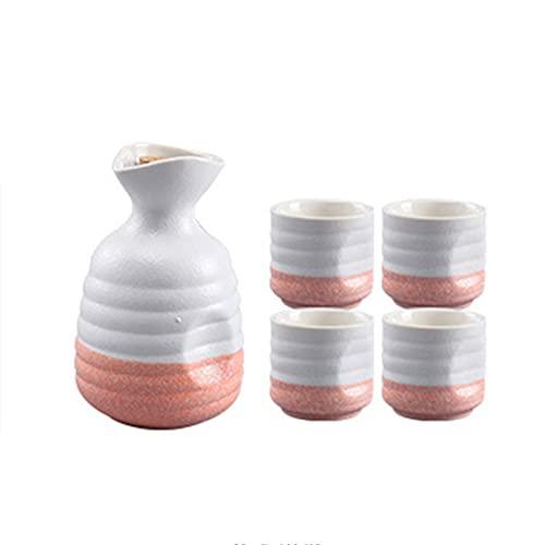 HQQ Set de Sake japonés, Olla de cerámica y Cuatro Tazas, Azul y Rosa. (Color : Pink)