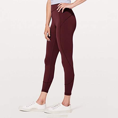Mesyr leggings yoga broek dames hoge taille workout panty loopbroek leggings yoga stretch nylon elastisch met contrasterende naden groen L Wijn Rood