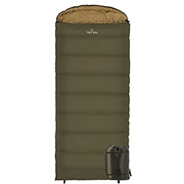 TETON Sports 100L Celsius XXL -18C/0F Sleeping Bag; 0 Degree Sleeping Bag Great for Cold Weather Camping; Lightweight Sleeping Bag; Hiking, Camping; Green, Left Zip
