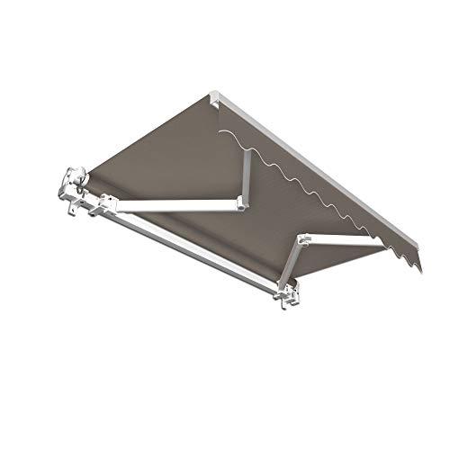 paramondo Gelenkarmmarkise Basic Balkonmarkise Sichtschutz für Terrasse, 350 x 300 cm (Breite x Ausfall), Anthrazit Uni