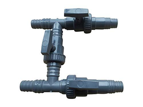 SPIRATO 3-Wege Bypass für Pool Solar und Wärmepumpe 32-38 mm Weiche mit 3 Absperrventilen