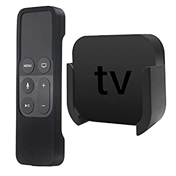TV Mount Compatible with Apple TV 4th and 4K 5th Generation Auswaur Wall Mount Bracket Holder Compatible with Apple TV 4th and 4K 5th Gen with Black Silicone Siri Remote Protective Case Cover
