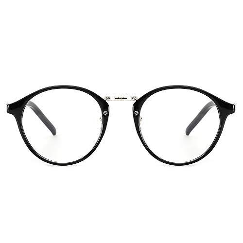 Cyxus Filtro de luz Azul Moda Retro Redondo Marco [Mejor Dormir] Unisexo Adulto Gafas de computadora, Bloqueo UV Anti Fatiga de Ojos (Marco Negro)