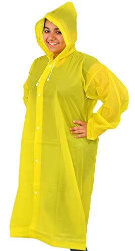 Home-X - Poncho impermeable portátil para adultos con capucha y mangas con cordón, impermeable impermeable, poncho unisex, peso ligero, fácil de transportar, amarillo de 18,4 cm...