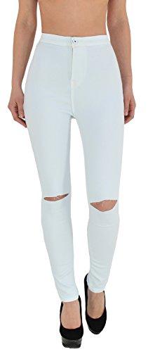ESRA Damen Jeans Hose Risse am Knie High Waist Damen Jeanshose Skinny in vielen Farben bis Übergröße J184