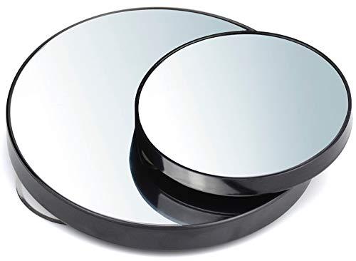 2pcs 10x Espejo de Aumento con Ventosas para Maquillaje Afeitado Eliminación de Puntos Negros (13cm+8.8cm)