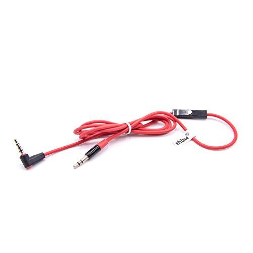 vhbw RemoteTalk Audio Kabel für Beats by Dr. DRE Kopfhörer mit Inline-Mikrofon, 3.5mm Klinke, Aux-Kabel, Klinkenkabel, Kopfhörerkabel, Rot-Schwarz