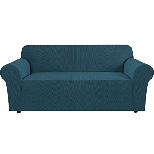 """H.VERSAILTEX Stretch Sofa Covers Couch Cover Furniture Protector Sofa Slipcover 1-Piece Feature High Spandex Textured Small Checks Jacquard Fabric with Elastic Bottom(Sofa 72""""-96"""" Wide: Deep Teal)"""
