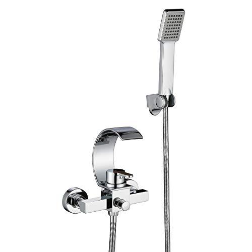 2 Loch-Set Badewannenarmatur mit Handbrause Duschsysteme Duscharmatur mit Wasserfall Auslauf Wannenarmatur Wandhalterung Einhandmischer Wasserhahn für Bad Dusche