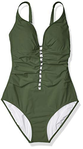 Profile by Gottex Women's Center Detail V-Neck Cup Sized One Piece Swimsuit, Maharani Green, 16D