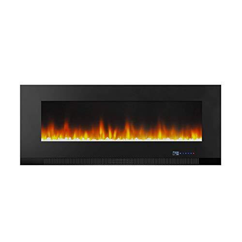 Amazon Basics – Chimenea eléctrica multicolor de 127cm, para montaje en pared, con iluminación LED 3D, con control remoto, 1300W
