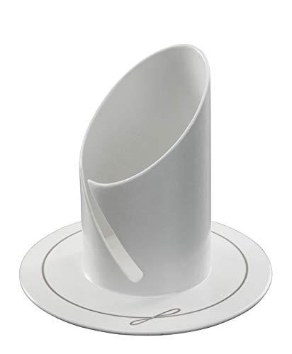 Motivationsgeschenke Kerzenständer Kommunionkerzen Kerzenhalter weiß elegant lackiert Ø 9 cm für Kerzen bis Ø 4 cm