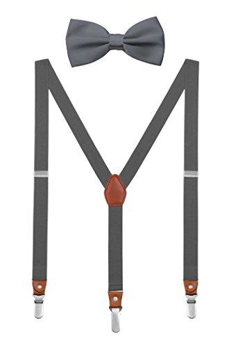 DEBAIJIA Schick Hosenträger mit Fliege Etui Damen Herren Jugendliche Suspenders Retro 3 Clips Elastisch Gürtel Längeverstellbar 155-180 Körperhöhe - Dunkelgrau