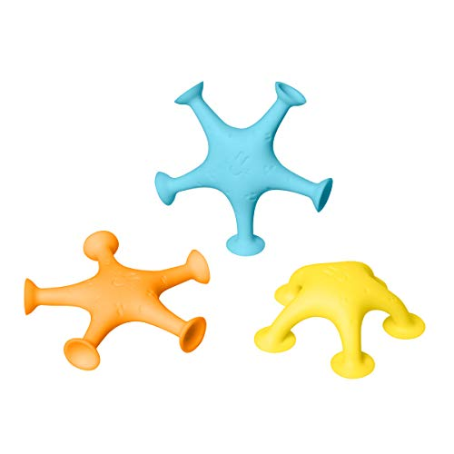 Ubbi Starfish Stretch and Suction Bath Toys, Set of 3 Dishwasher Safe Baby and Toddler Toys