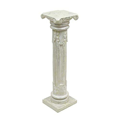 Oriental Galerie Antike Dekosäule Säule Blumensäule Ständer Sockel Podest Holz Weiß Silverwash 80 cm