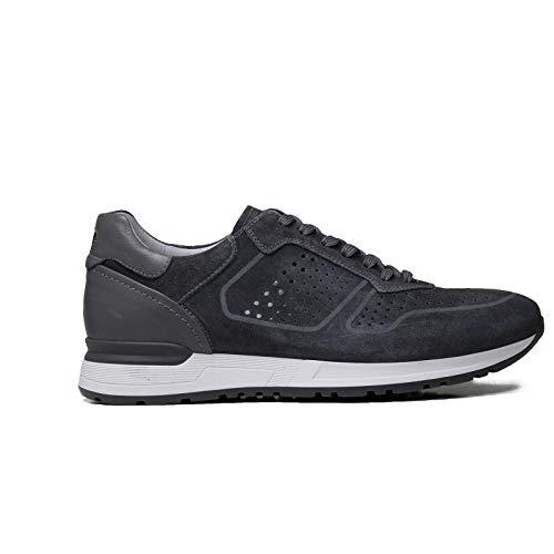 Nero Giardini 00832 Grigio Scarpe Uomo Sneakers Pelle Traforata Made in Italy