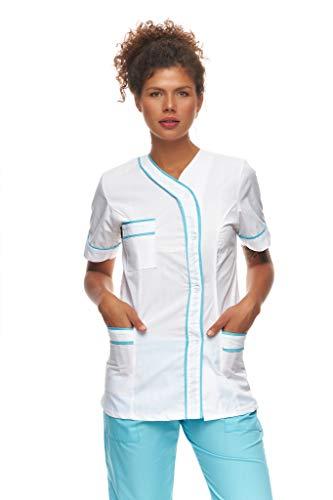 Mazalat Kasack Damen Pflege, Medical Schlupfjacke, Kurzarm Schlupfkasack, Made in EU medizinische Arbeitskleidung, Altenpflege Kleidung, Medical uniform (Weiß/Hellblau, XL)