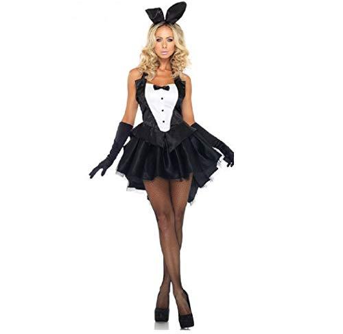 GGTBOUTIQUE Disfraz sexy de esmoquin y colas, disfraz de conejito de Halloween