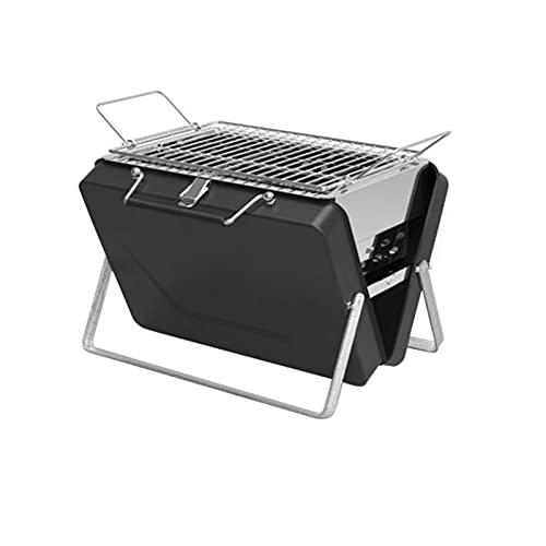 Firmer Klappbar Edelstahl Tragbare Holzkohle BBQ Grill, Kebab Holzkohle BBQ Grill Mit Kohlebehälter, Garten Outdoor Und Camping,Schwarz