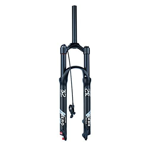 Jejy 26 Pulg XC MTB Horquilla de Suspensión 1 1/8 Sin Rosca Menos, 26/27.5/29 Bicicleta de Montaña Horquillas de Aire Bloqueo Remoto/Bloqueo Manual Amortiguador