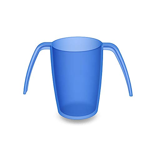 Ornamin 2-Henkel-Becher 220 ml blau (Modell 816) / Spezial-Trinkhilfe, Pflege-Becher, Tremor-Becher, Kunststoffbecher