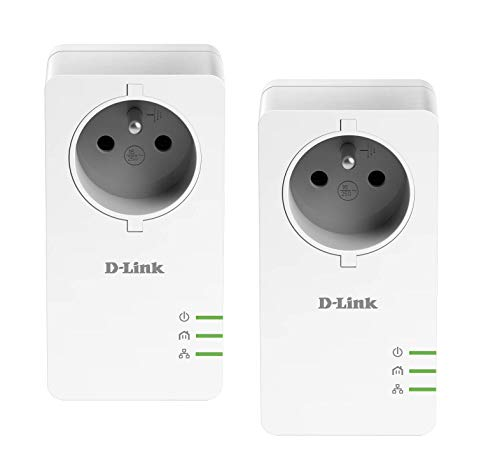 D-Link DHP-P601AV/FR CPL 1000 mbps, Kit de 2 Adaptateurs HomePlug AV2 1000 HD Prise Intégrée - Idéal pour Profiter du Service Multi-TV à la Maison