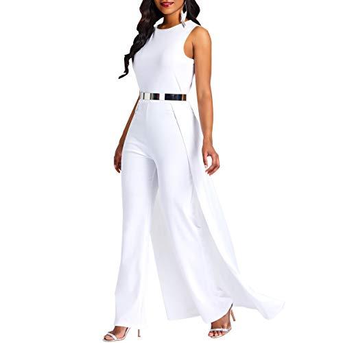 VERWIN Patchwork Overlay Embellished Plain Women's Jumpsuit High-Waist Woman Romper White XL