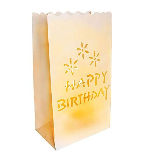 Teelicht Kerze Taschen (50 Stück) - Happy Birthday Weiße Papiertüten Dekorative Laternen - Mittelstück Kunsthandwerk Dekorationen - Mit Teelichter Verwenden (Normal oder LED) - Rustikale Dekoration