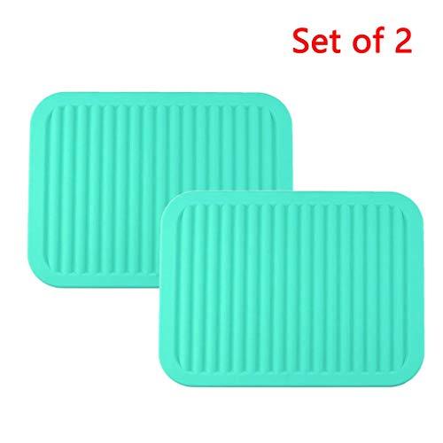 2er-Set Mehrzweck-Silikon-Topflappen Große Silikon-Untersetzer Löffelablage Küchentischmatte Isolierung Flexible haltbare rutschfeste Hot Pads und Untersetzer (Color : Cyan)