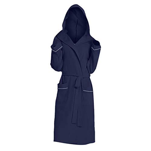 Discount Boutique Bata Suave para Mujer Abrigo Interior de Color sólido Albornoz de Manga Larga Albornoz con Capucha para Mujeres con Bolsillos