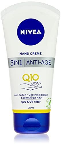 NIVEA 3in1 Anti-Age Q10 Hand Creme (75 ml), Anti-Falten Handpflege mit Q10 und UV-Filter, pflegende Hautcreme für normale bis trockene Hände