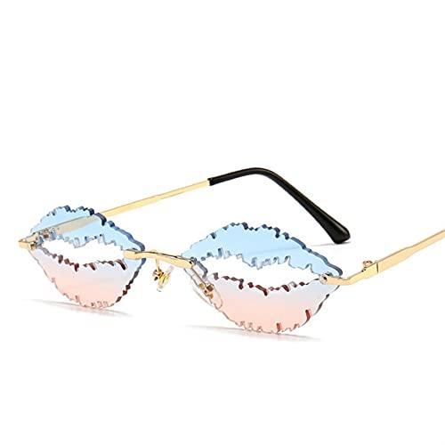 Vintage sin Montura Gafas de Sol Mujeres Hombres de Lujo con Forma de Labios de Moda Moda Steampunk Gafas de Sol Tonos de Gafas UV400 Hombres de oculos (Color : 5, Size : G)