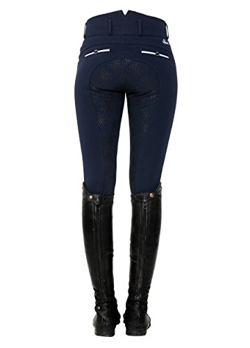 SPOOKS Reithose für Damen Mädchen Kinder, Voll-Besatz Reithosen Leggings Turnierreithose - bequem & stylisch Ricarda Full Grip High Waist - Navy XS