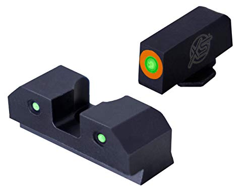 XS Sights 3-Dot Tritium Night Sights, Fits Glock Gen 1 – 5 +MOS Pistols, Dual Illuminated Orange Front Sight Equipped with Tritium Photoluminescent Glow Dot